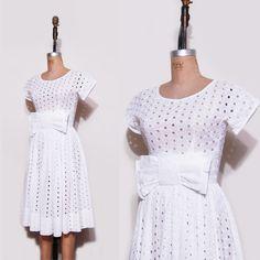 1950s white honeymoon dress. 50s white cutout day dress.