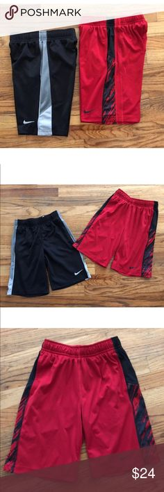 Nike Dri-Fit Boys Youth Shorts Size S Lot of 2 Lot of 2 Nike Dri-Fit Boys Youth Shorts, Size Small Black & red colors, pockets in front. Great pre-owned condition. Nike Bottoms Shorts