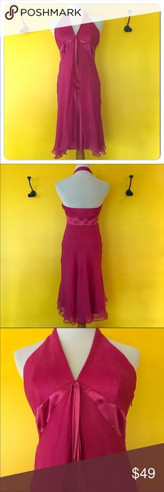 LAUNDRY by Shelli Segal fuchsia halter dress. LAUNDRY by Shelli Segal fuchsia halter dress.  Bright vivid pink with so much detail.  Ruffle front, crepe style outer layer with satin inside lining, side zip.  Worn one time then dry cleaned.  The loops for hanging were cut off, there is a slight piece showing, does not show when wearing. ( see pic) Beautiful for any event all seasons Laundry By Shelli Segal Dresses Backless