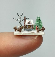 OOAK Miniature Dollhouse Christmas Putz Cabin House Micro Woodland Snow Scene  | eBay