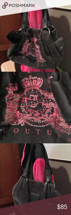 """Juicy Couture handbag Super Cute👜NWOT's Gray velvet with pink graphic design has all Rhinestones measures: 11""""X8""""X4"""" drop on handles 7.5"""". has several compartments two on outside two on inside with key hooks  . Great Juicy bag. No wear any place. Juicy Couture Bags Satchels"""