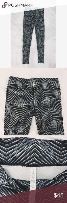 Geometric Lululemon Yoga Pants Size 8 Lululemon Leggings. Dark Grey & White geometric pattern. Full length, not crop, in very good condition. Lululemon size 8 should fit a 26-29 waist. Pants Leggings