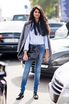 Polish your skinny jeans with a crisp button-up and patent leather boots