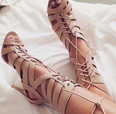 Lace up high heel sandals | You can find this at => http://feedproxy.google.com/~r/amazingoutfits/~3/Qeq80ClUKQM/photo.php