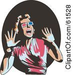 Royalty Free RF Clipart Illustration Of A Scared Retro Woman Wearing 3d Glasses Screaming And Holding Her Hands Up http://free.clipartof.com/details/138-Mad-Man-Reading-Newspaper-Free-Retro-Clipart-Illustration