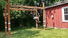 Backyard Jungle Gym, Backyard For Kids, Backyard Projects, Outdoor Projects, Backyard Play Areas, Backyard Fort, Ninja Warrior Course, American Ninja Warrior, Kids Ninja Warrior