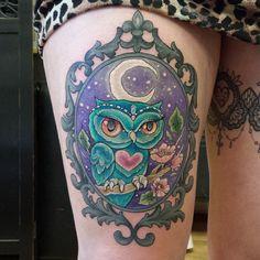 Love this! framed mystical night owl color tattoo @missjoblacktattoos |