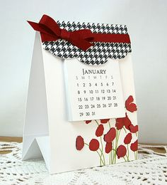 "tri-fold calendar card-  The overall size of the cards is 3 1/2"" x 15"", scored at 5"" & 10"". Each section measures 3 1/2"" x 5"""