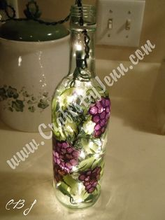 Wine+Bottle+Crafts | This wine bottle is hand painted with grape vines and clusters of ...