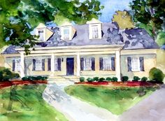 Watercolors by Laura Trevey - House Portrait Giveaway!