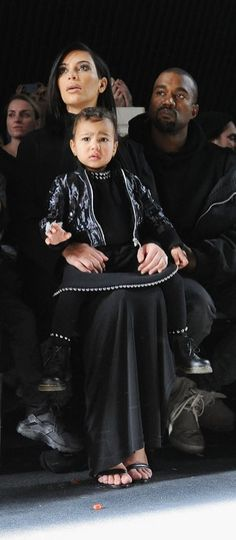 North West, Kim Kardashian, and Kanye West at the Alexander Wang show.