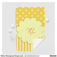 Yellow Monogram Stripes and Polka Dots Golf Towel Golf Room, Yellow Towels, Golf Towels, Golf Accessories, Golf Outfit, Yellow Stripes, Dog Bowtie, Initials, Polka Dots