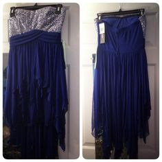 Navy High-Low Sequin Fancy Dress Navy blue strapless prom/ Semiformal dress. Has back zipper, and plastic support around the top to help hold it up. Can fit a size 3 or 5 in Juniors. New with tags, never been worn! Great deal (: NO trades NO PayPal My Michelle Dresses High Low
