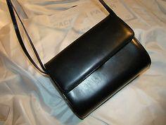 Pre Owned Auth Salvatore Ferragamo Black Calfskin Flap Box Shoulderbag Purse | eBay