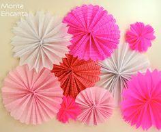 Monta Encanta: DiY - Flores de leque papel crepom