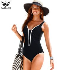 NAKIAEOI One Piece Swimsuit Women Swimwear Female Retro Plus Size Swimwear 2016 Vintage Large Bathing Suit Swim Beachwear Black