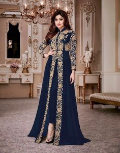 Shop Shamita Shetty Blue color party wear anarkali kameez online at kollybollyethnics from India with free worldwide shipping.