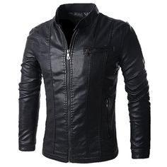 Stand Collar Solid Color Multi-Pocket Long Sleeve Men's PU-Leather Jacket #jewelry, #women, #men, #hats, #watches, #belts