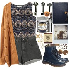 ticket to ride by bluevelvetmoon on Polyvore featuring Dr. Martens, MAC Cosmetics, Coach, Advantus, Kusmi Tea and Polaroid