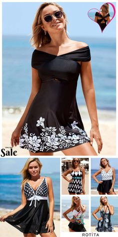 Summer getaways come easy when you& wearing these black swimdress. Bathing Suit Dress, Swim Dress, Pretty Outfits, Cool Outfits, Bikini For Women, Summer Fashion Outfits, Plus Size Swimwear, Beachwear, Swimsuits