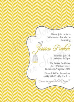 Grey and Mustard Yellow Custom Digital Bridal, Baby Shower, Bridesmaids Luncheon Invitation - Floral, Geometric, Bird, Birdcage - 5 Designs. $15.00, via Etsy.