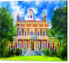 Antebellum Architecture Canvas Print Featuring Hay House
