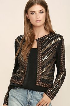 Every uptown girl will be after the Lexington Avenue Black Sequin Jacket! Soft and lightweight vegan suede shapes this cute, cropped jacket with collarless cut, and hidden front hook closures. Bronze and gold embroidery, sequins, and beads create a dazzling display.