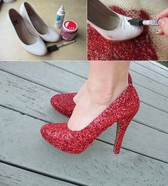 Make your own glamorous shoes with red glitter decoration. The perfect accessory for Valentine's Day!