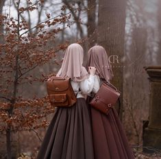 Left: My lovely friend & soulmate Rumeysa Tatli 🎀 Skirts: My Hijab: (rosybrown) Bags: (the left one), and my bag is from aliexpress (Viewinbox) Islamic Fashion, Muslim Fashion, Hijab Fashion, Fashion Muslimah, Hijab Style, Hijab Chic, Casual Hijab Outfit, Hijab Dress, Beautiful Muslim Women