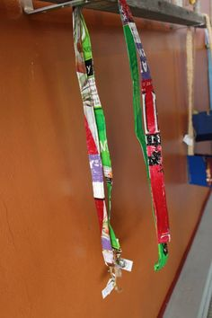 Dog leashes made from reused animal food bags. Darcy Woo Grooming, Manitowoc, WI 920-629-0690