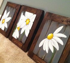 Daisy Painting, Painting On Wood, Pallet Painting, Country Farmhouse Decor, Rustic Decor, Farmhouse Artwork, Rustic Artwork, Country Art, Country Wall Decor