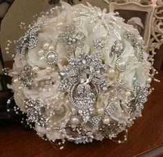 HOLLYWOOD GLAM Brooch Bouquet - Large, Vintage style, soft Ivory large jeweled bouquet, stunning style, custom made to order