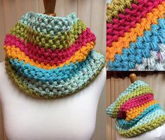 Crochet Cowl, Puff Stitch Cowl, Rainbow Striped Cowl, Striped Cowl, Multi Color Cowl, Gifts for Her, Circle Scarf, Crocheted Cowl by CozyNCuteCrochet on Etsy