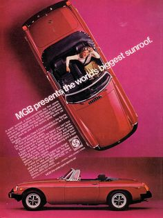 An Old Ad From The Now Defunct British Mg Car Company For The Mgb