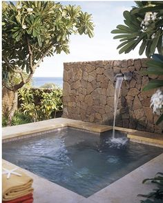 And throw in a hot tub . . .love the stone and the high spout...also great size.