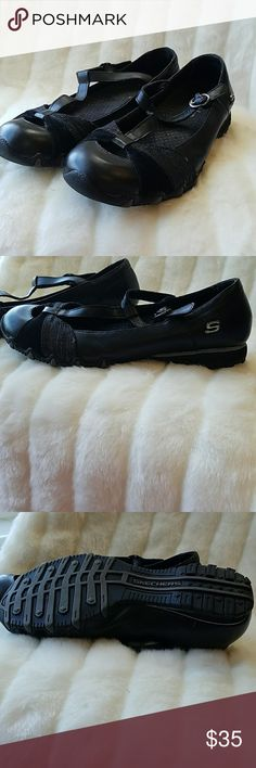 Sketchers strappy black leather Mary Jane flats. 8 Sketchers strappy black leather Mary Jane flats. Size 8. Excellent condition. Skechers Shoes Flats & Loafers