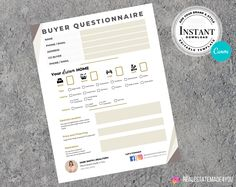 Real Estate Buyer Questionnaire, Ready To Print, Real Estate Marketing, Real Estate Templates, Editable in Canva #RealEstatePrint #RealEstate #EditableInCanva #BuyerTemplate #RealEstateTemplate #RealEstateFlyer #ReadyToPrint #BuyerQuestionnaire #Realtor #ReadyTemplate Real Estate Templates, Real Estate Buyers, Questionnaire, Marketing Materials, Real Estate Marketing, Printing Services, Design Elements, My Etsy Shop, Ads