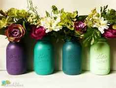 Peacock Colors - Wedding and Home Decor - Emerald Painted and ...