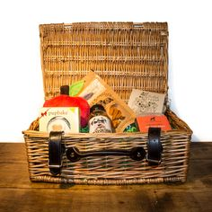 """Our unique take on the quintessentially British picnic; the """"Pupnic"""" hamper is the ultimate summer treat for the pampered pooch. Packed full of lots of goodies you would expect to find at a picnic but with a fun doggie twist! Hampers, Summer Treats, Picnic, Goodies, British, Basket, Pets, Unique, Fun"""