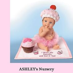 Ashton Drake I WANT MY CUPCAKE EAT IT TO Baby Doll Hats off to you