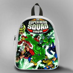 Marvel and Evil, School Bag Kids, Large Size, Medium Size, Small Size, Red, White, Deep Sky Blue, Black, Light Salmon Color