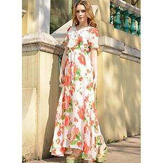 Women's Fashion Printing Chiffon and Lace Long Dresses – USD $ 39.19
