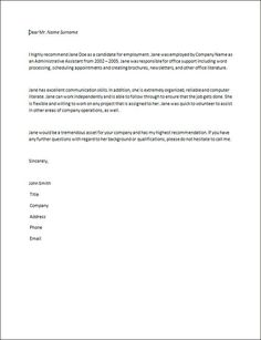 Letter of Recommendation Examples and Writing Tips | Employee ...