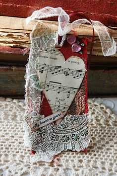 a musical heart, lace and bling..what else would you want?