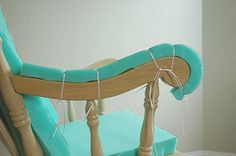 diy - add padding to wooden chairs, etc.