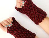hand crocheted Fingerless gloves,red gloves,women,for her,crochet trends,long,2013 Trends,Crocheted,valentine. $25.00, via Etsy.