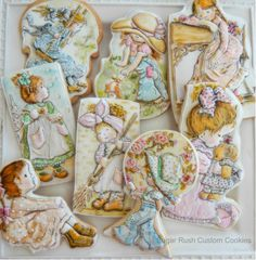 Cookies based on the illustrations by Sarah Kay - Cake by Kim Coleman (Sugar Rush Custom Cookies)
