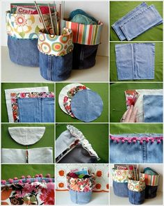 Turn Your Old Pair of Jeans into These Wonderful Storage Bins Source: makezine Space for storage is the need of every house. It would be great if you can create some storage by recycling something. For that grabArea for storage is the necessit Jean Crafts, Denim Crafts, Diy Jeans, Sewing Hacks, Sewing Crafts, Fabric Crafts, Artisanats Denim, Denim Fabric, Jeans Recycling