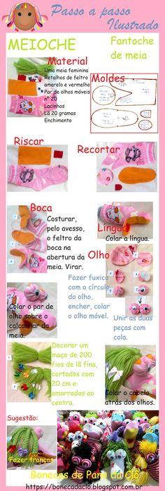 Bonecas De Pano Da Clô: Fazendo fantoche de meia.