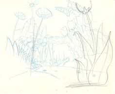 Vintage Disney Alice in Wonderland: Garden of Live Flowers Concept Layout Sketch
